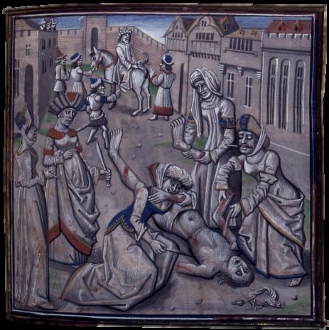 Смерть Андроника Комнина. Миниатюра XV века. <br>